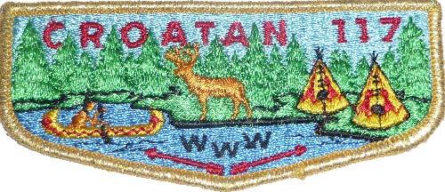 1973 BLU water R200 OA Lodge 117 Croatan S2 Flap BRO; MVE